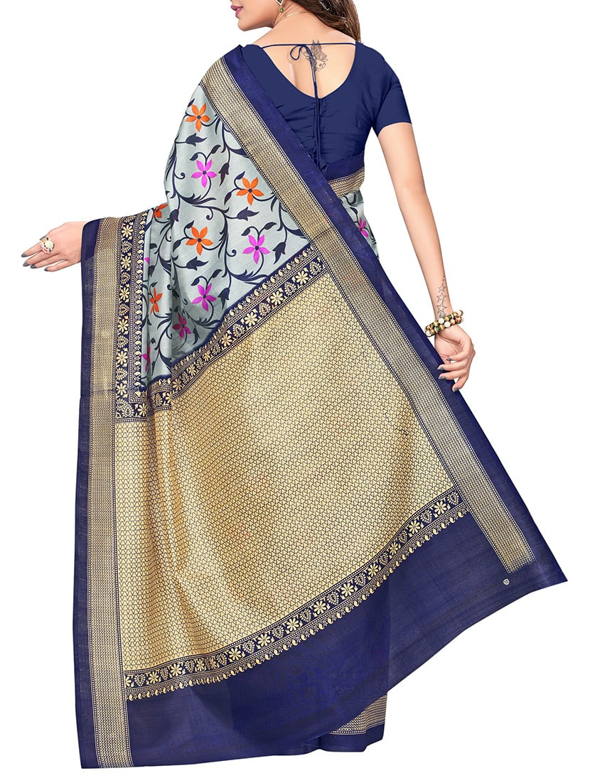 grey art silk bhagalpuri saree with blouse