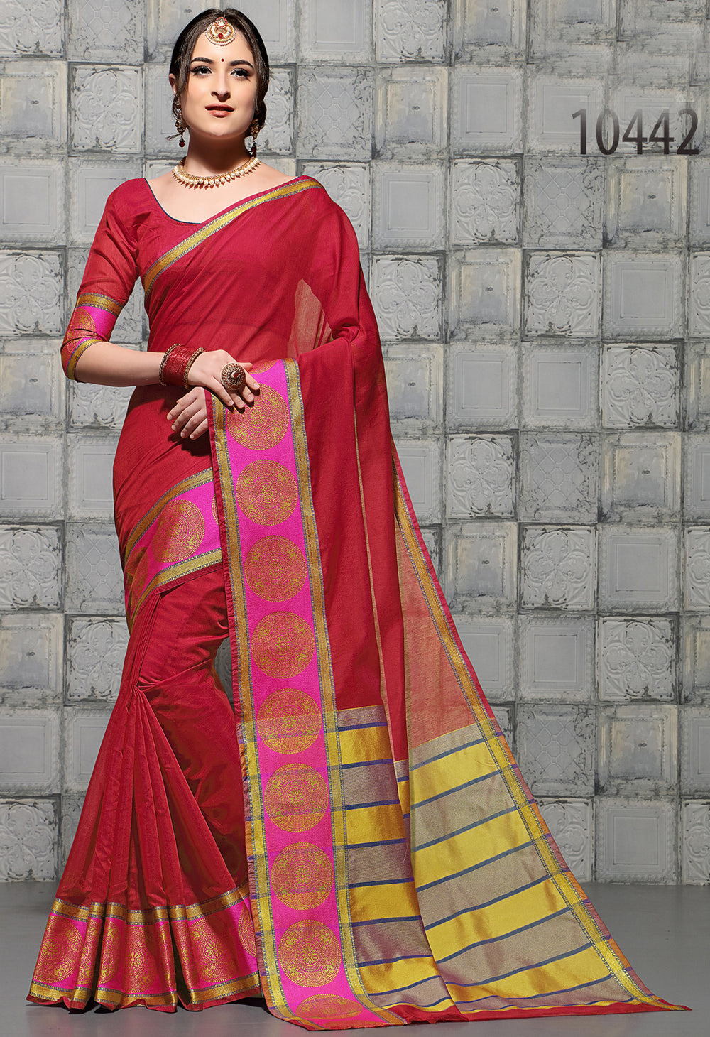 Roop Kashish Women Red Party Wear woven Cotton Printed Saree And Border And Cotton Blouse Material_RKSCSUNAHARI10442