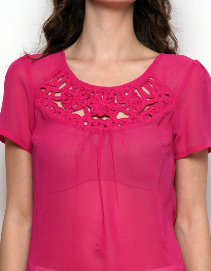 Cornelli Work Detail Top Fushia