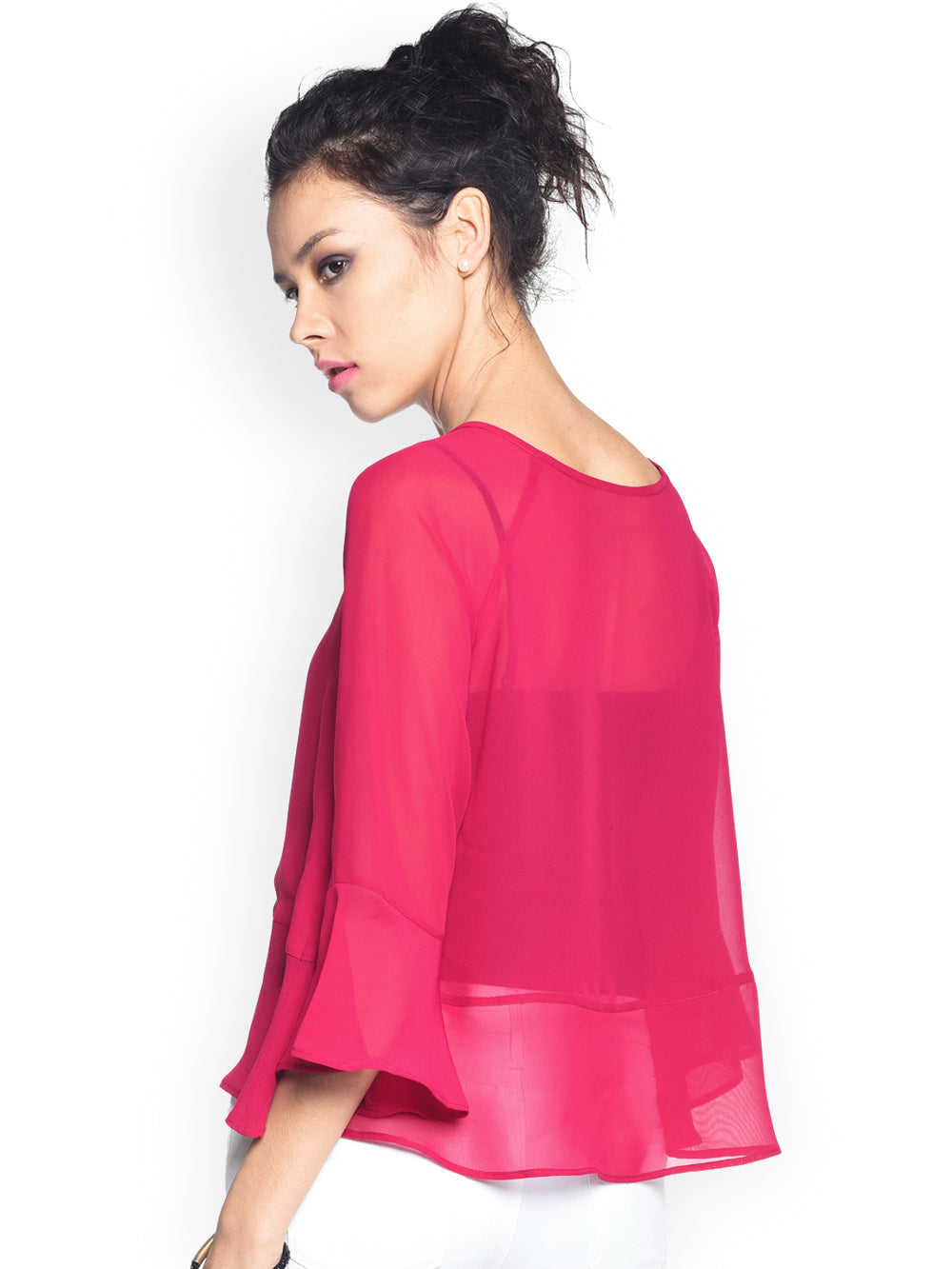 Besiva Pink Sheer Top