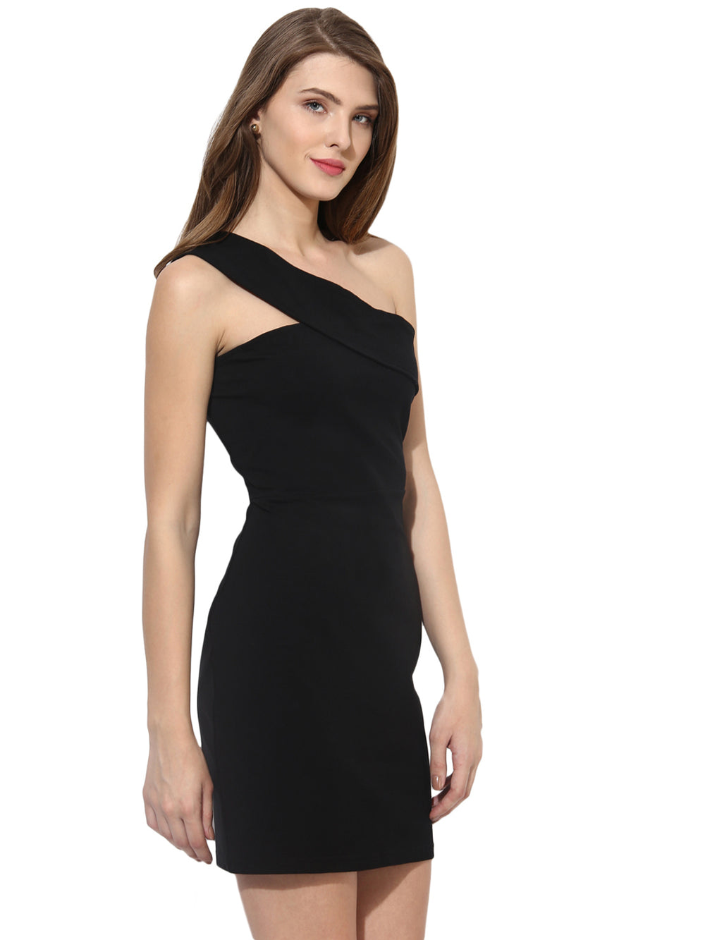 Besiva Women Black Solid One-Shoulder Sheath Dress