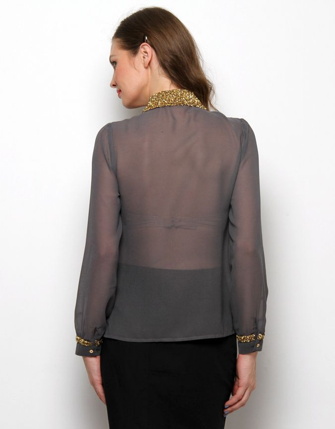 Sequin collar shirt Dark Grey