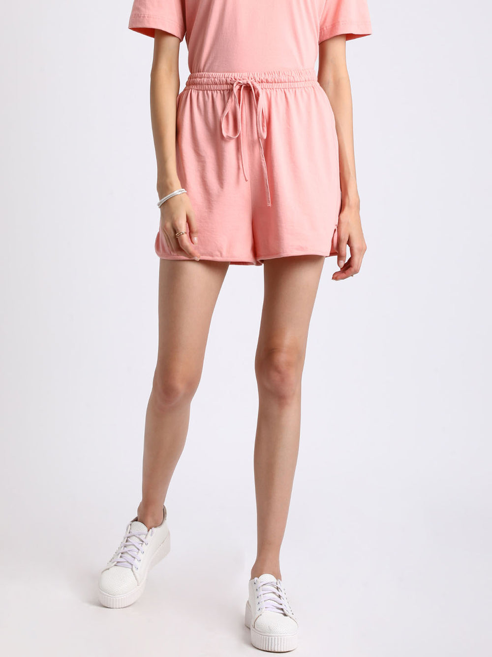 Besiva Women Peach-Coloured Solid Regular Fit Regular Shorts