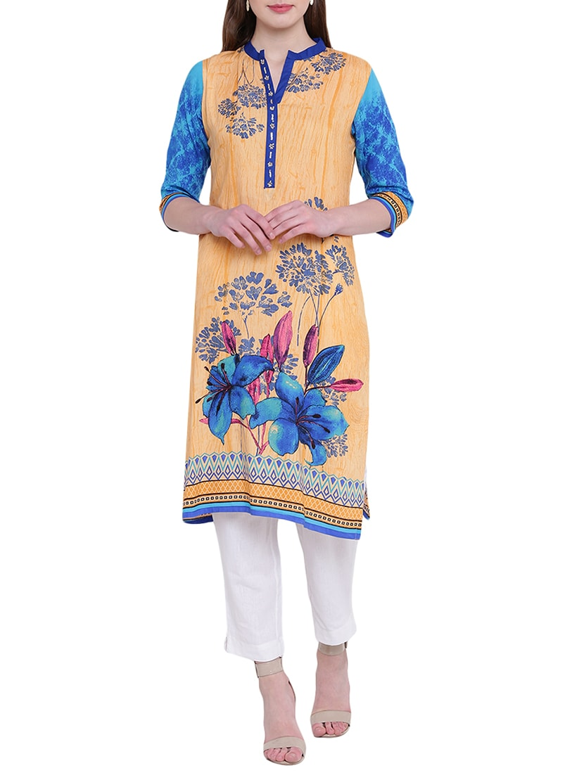 Orange rayon straight kurta
