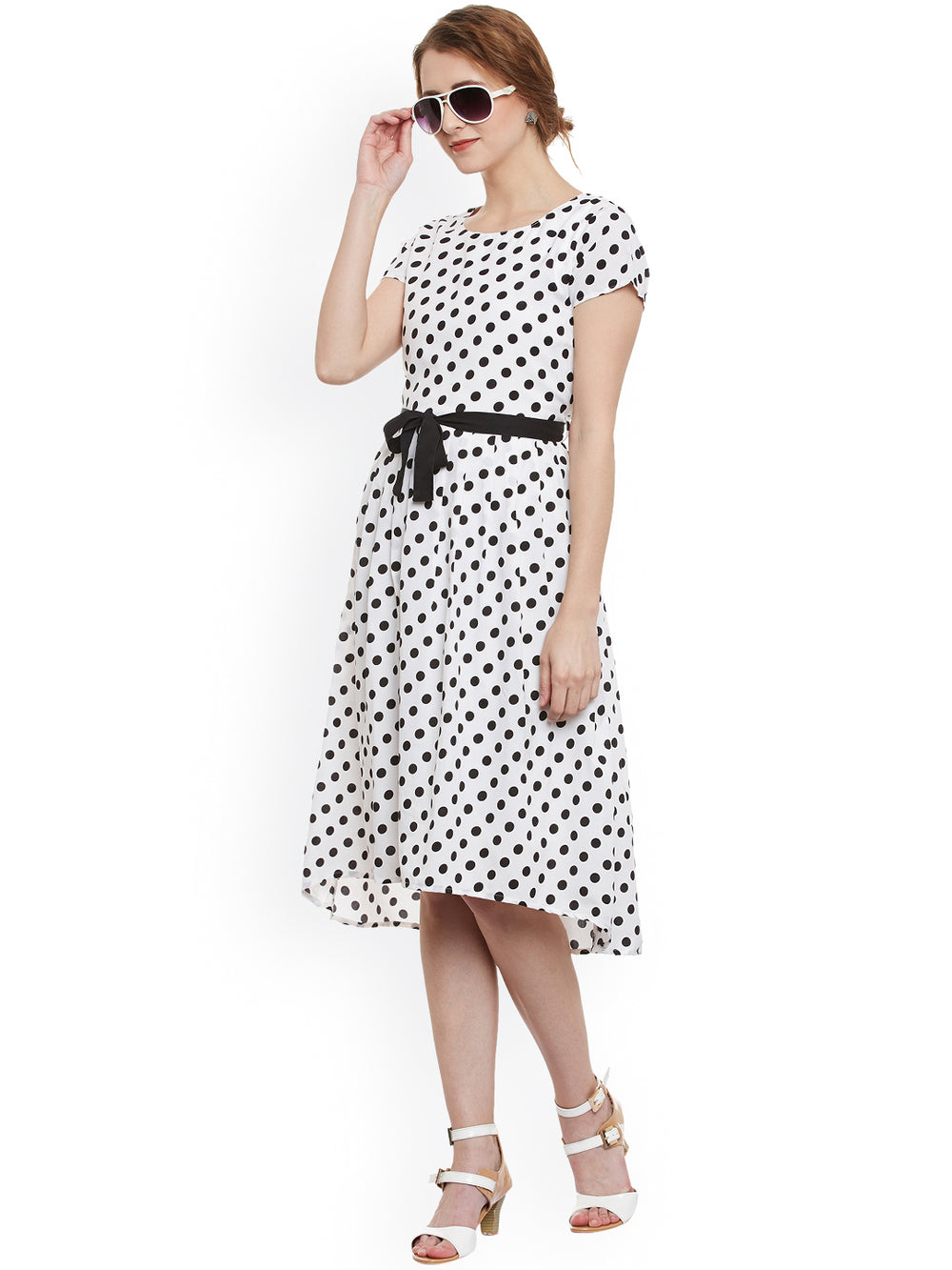 eyelet Women White & Black Polka Dot Print Fit & Flare Dress