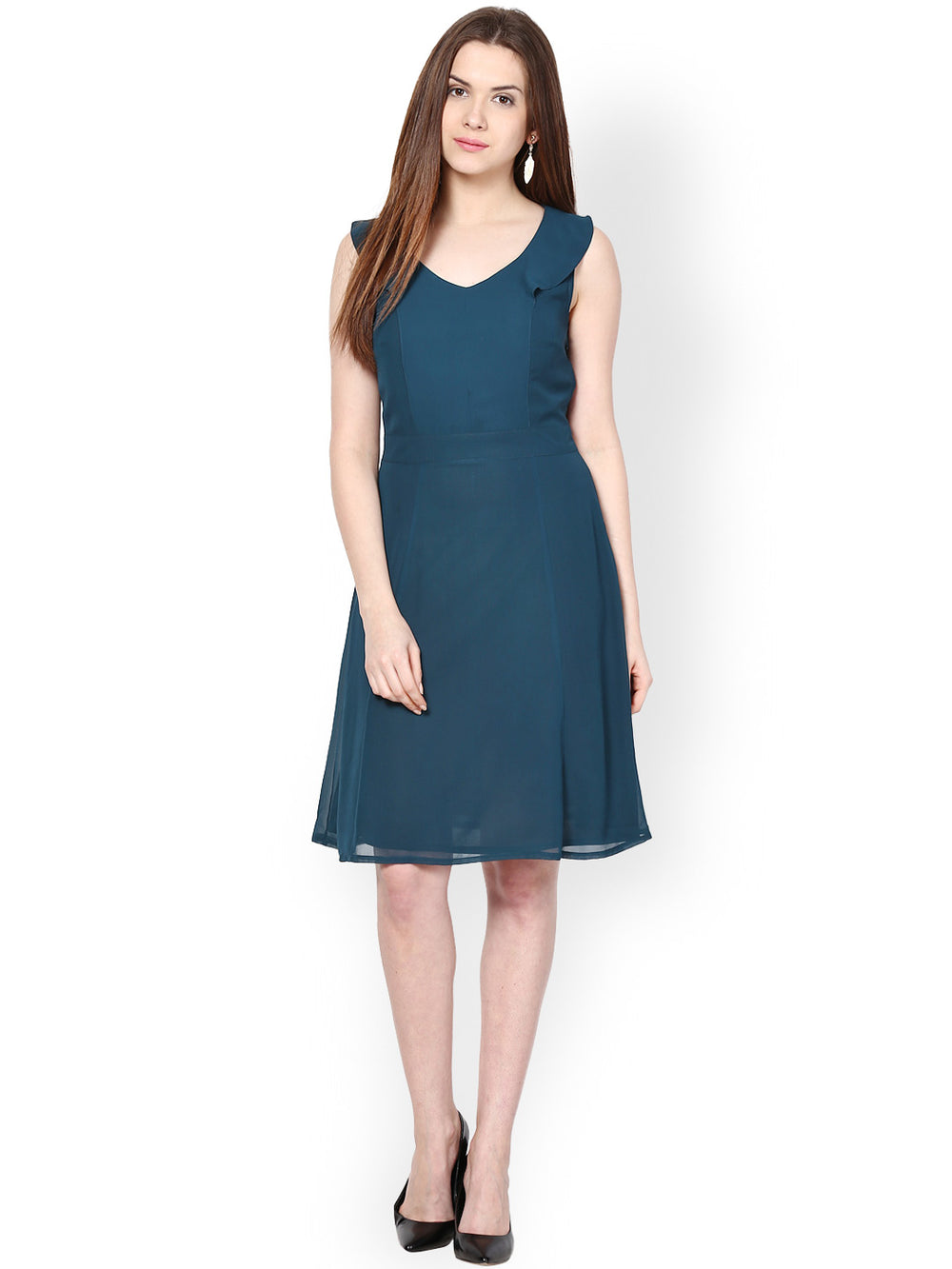 Besiva Dark Green Fit & Flare Dress