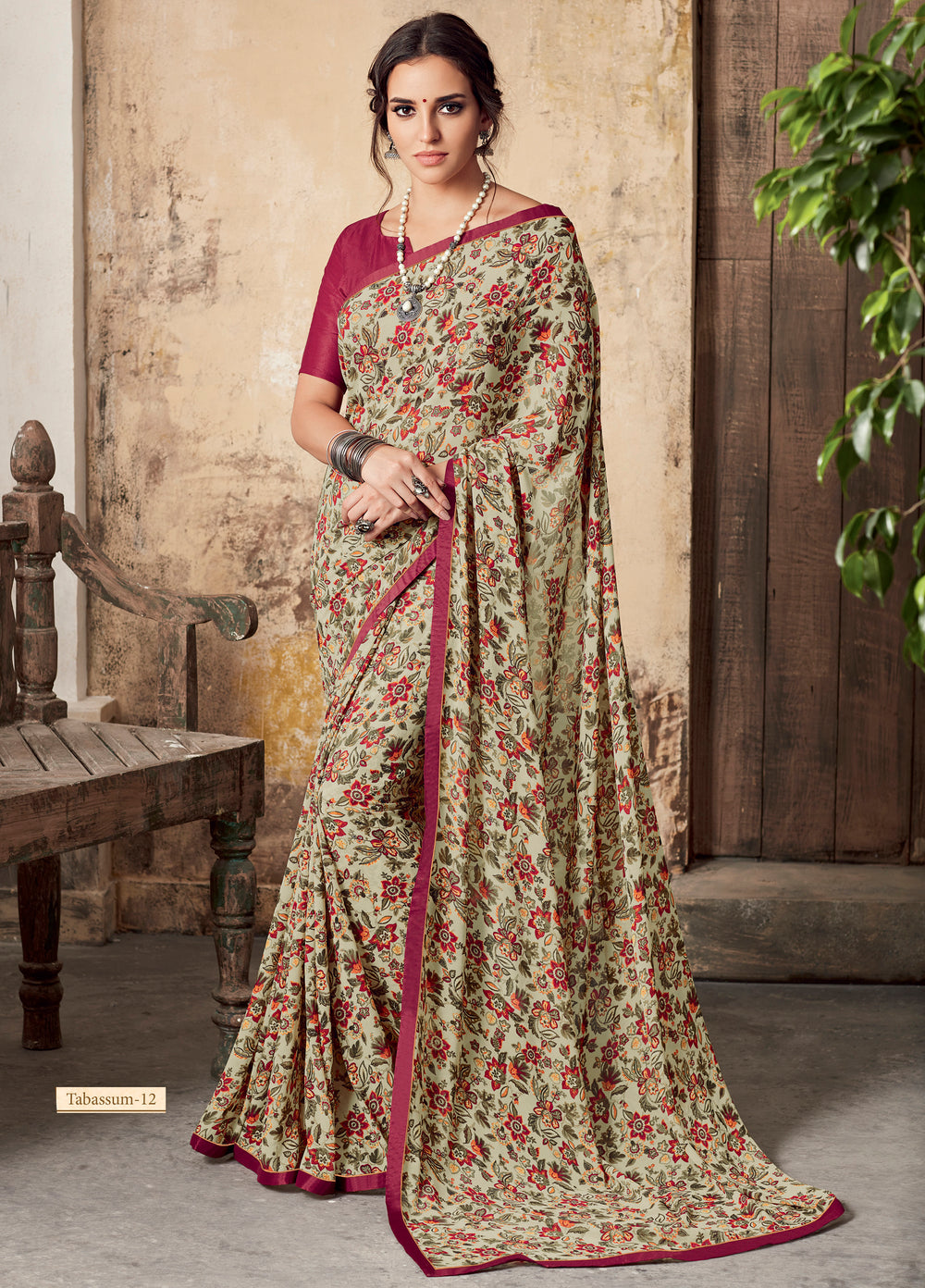 Roop Kashish Women Beige Party Wear Georgette Printed Saree With Border And Georgette Blouse Material_RKSCTABASSUM12