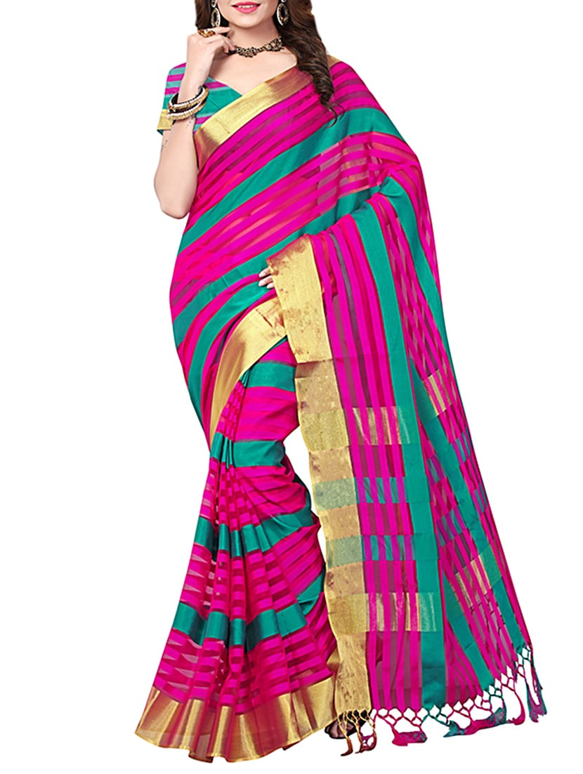 multi cotton mysore silk saree with blouse