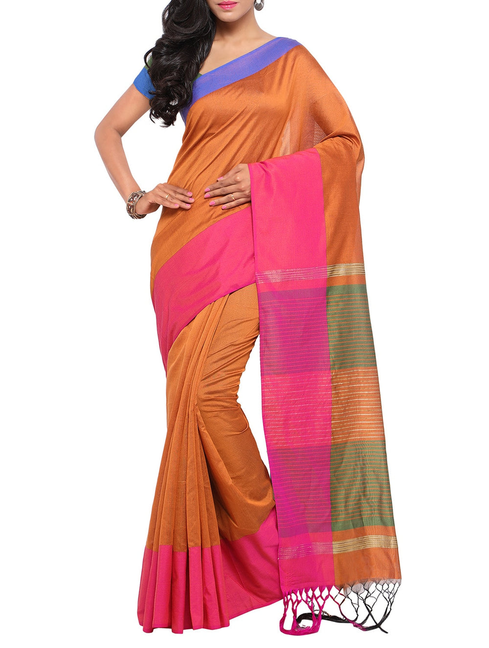 orange handloom saree with blouse