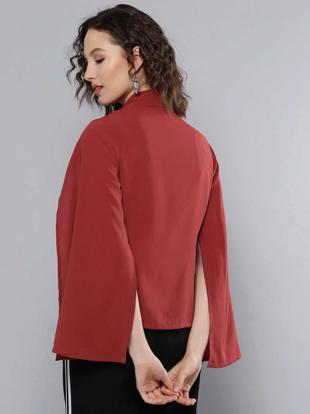 Besiva Rust Orange Solid Shrug