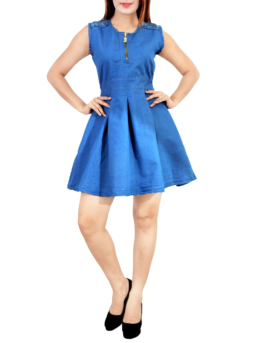 blue denim fit & flare dress