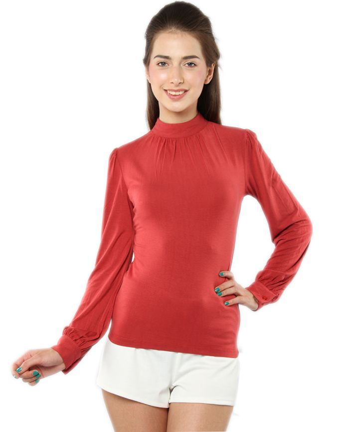 High Neck Full Sleeves T Shirt Deep Red