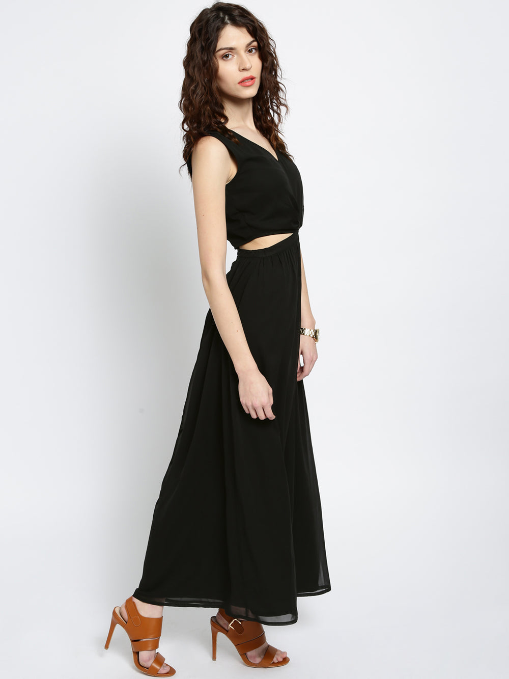 Besiva Women Black Solid Maxi Dress