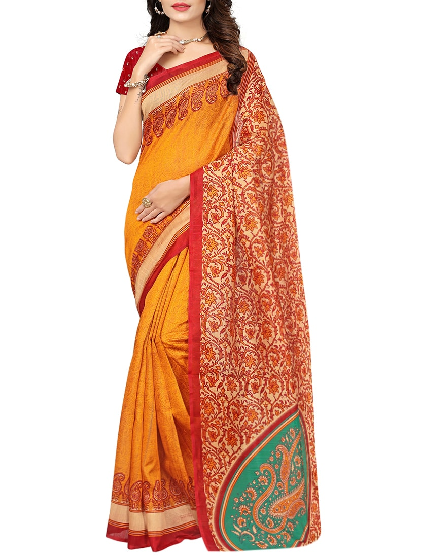 Orange  bhagalpuri saree with blouse