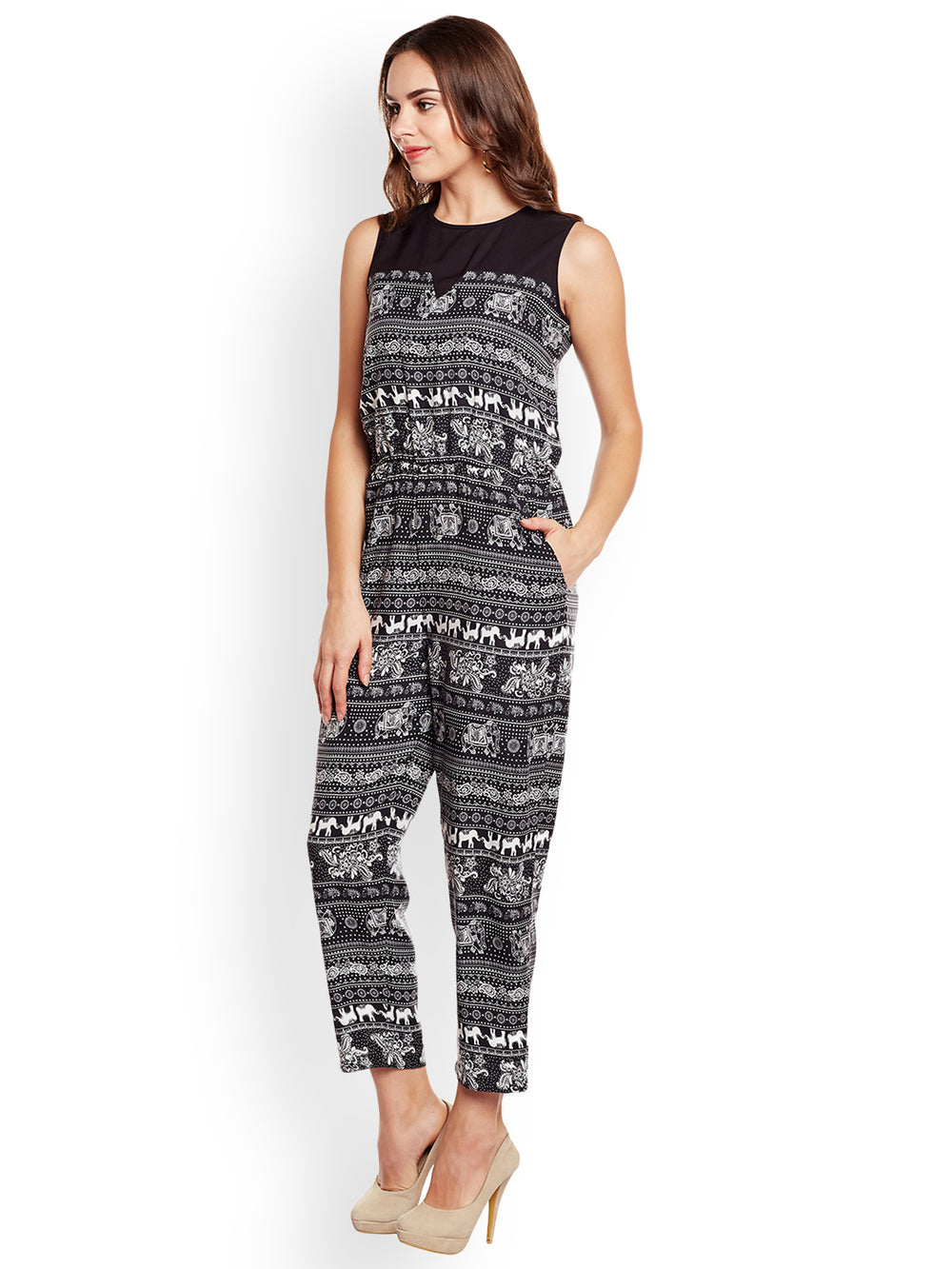 Eyelet Black Printed Poly Crepe Jumpsuit