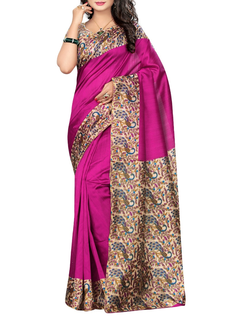 Pink art silk printed saree with blouse