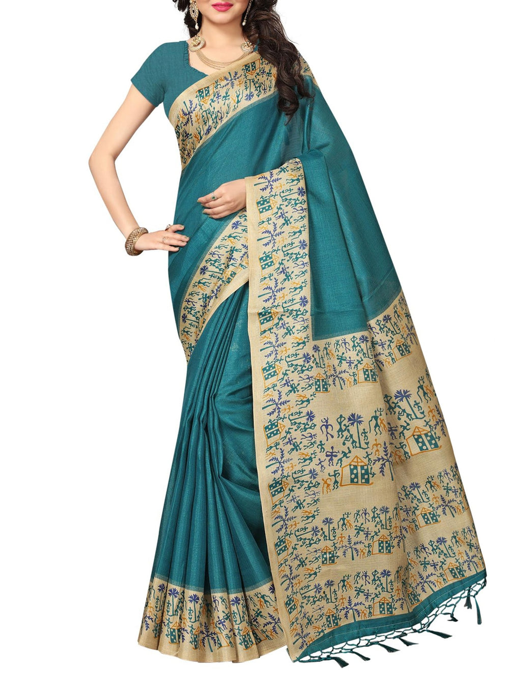 turquoise khadi printed saree with blouse
