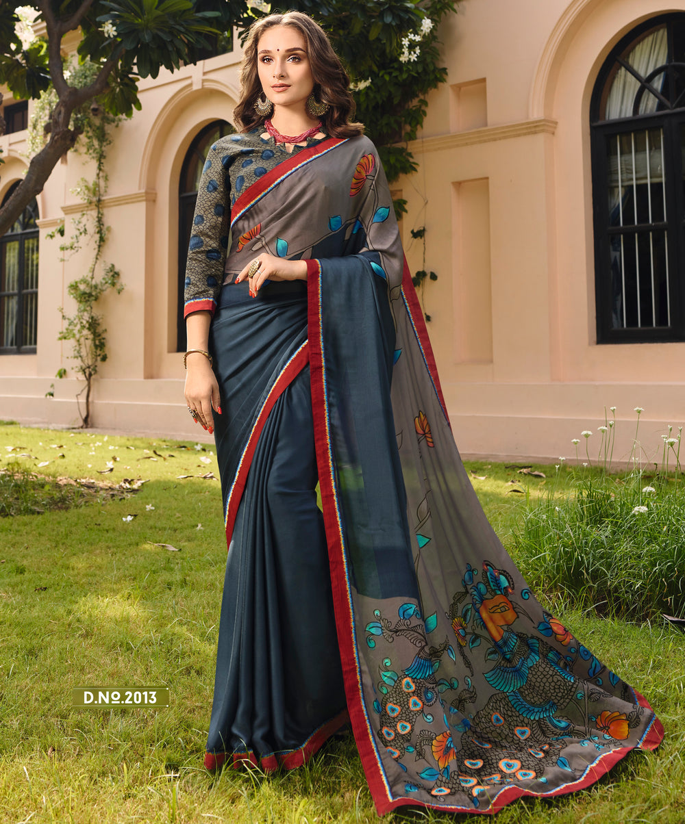 Roop Kashish Women Blue Party Wear Crepe Georgette Saree With Border And Raw Silk Blouse Material_RKPF2013