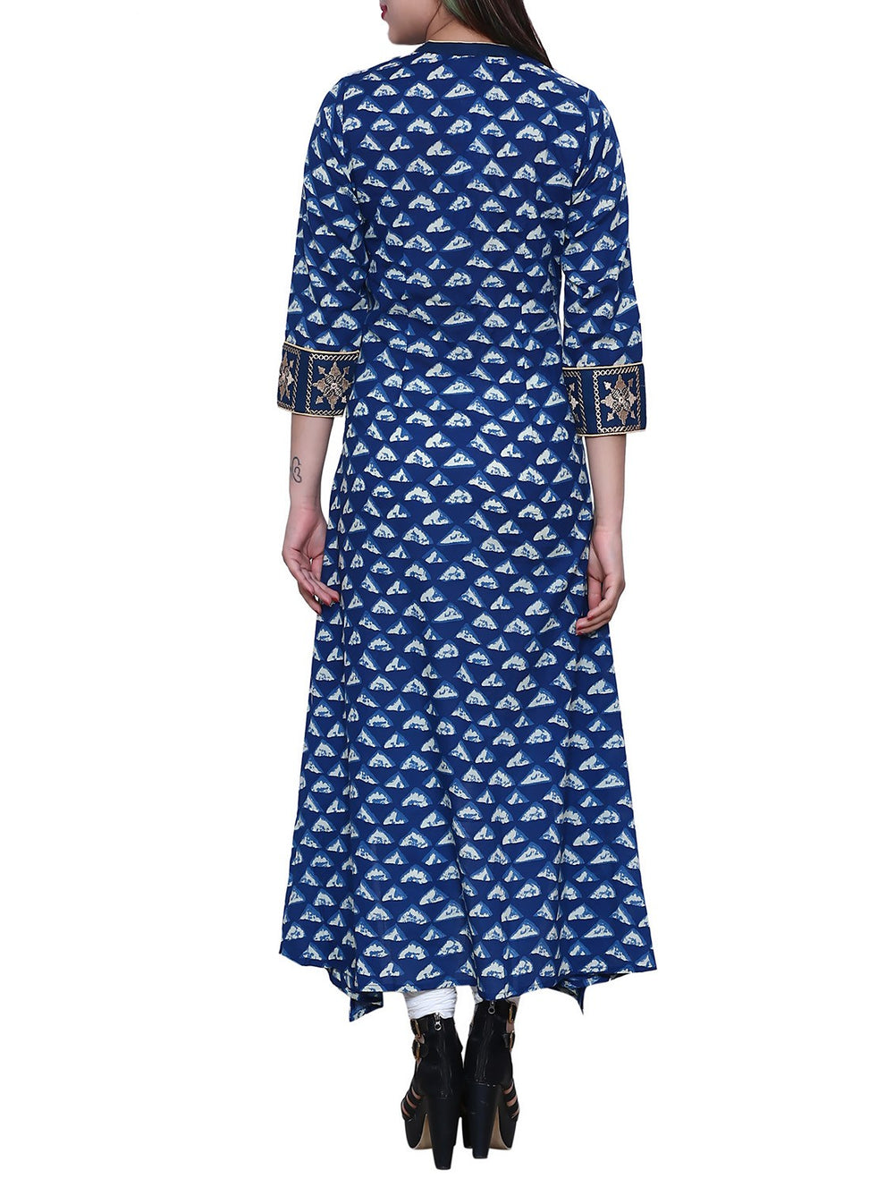 blue cotton high-low kurta