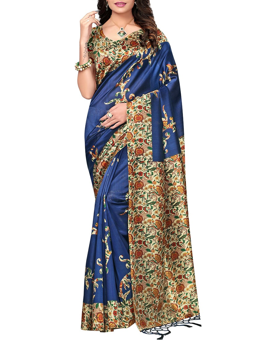 navy blue mysore silk saree with blouse
