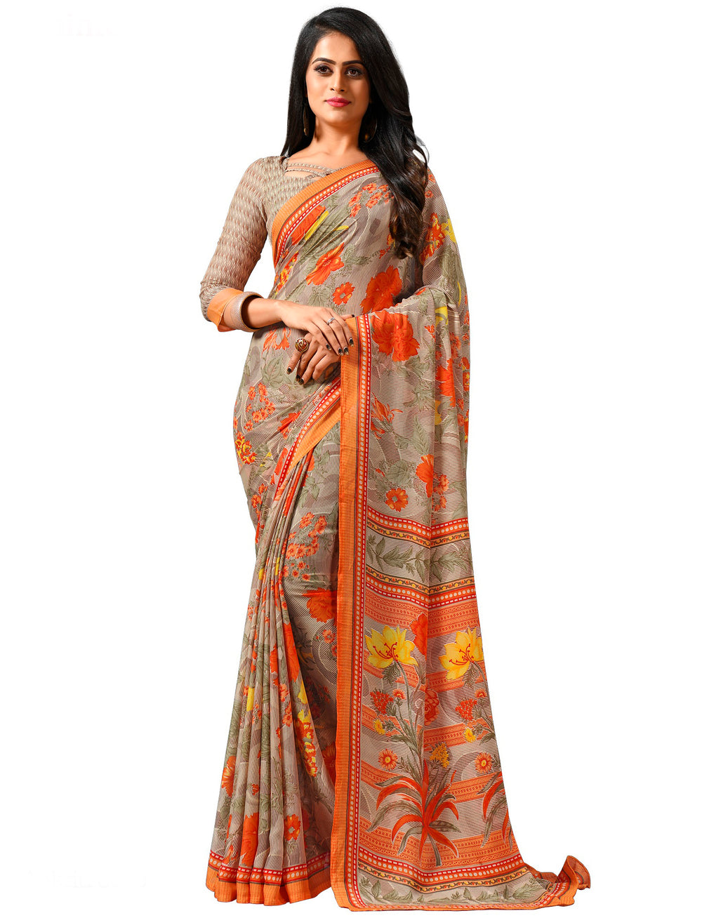 Roop Kashish Women Multi-Coloured Party Wear Georgette Printed Saree And Georgette Blouse Material_RKAM8079
