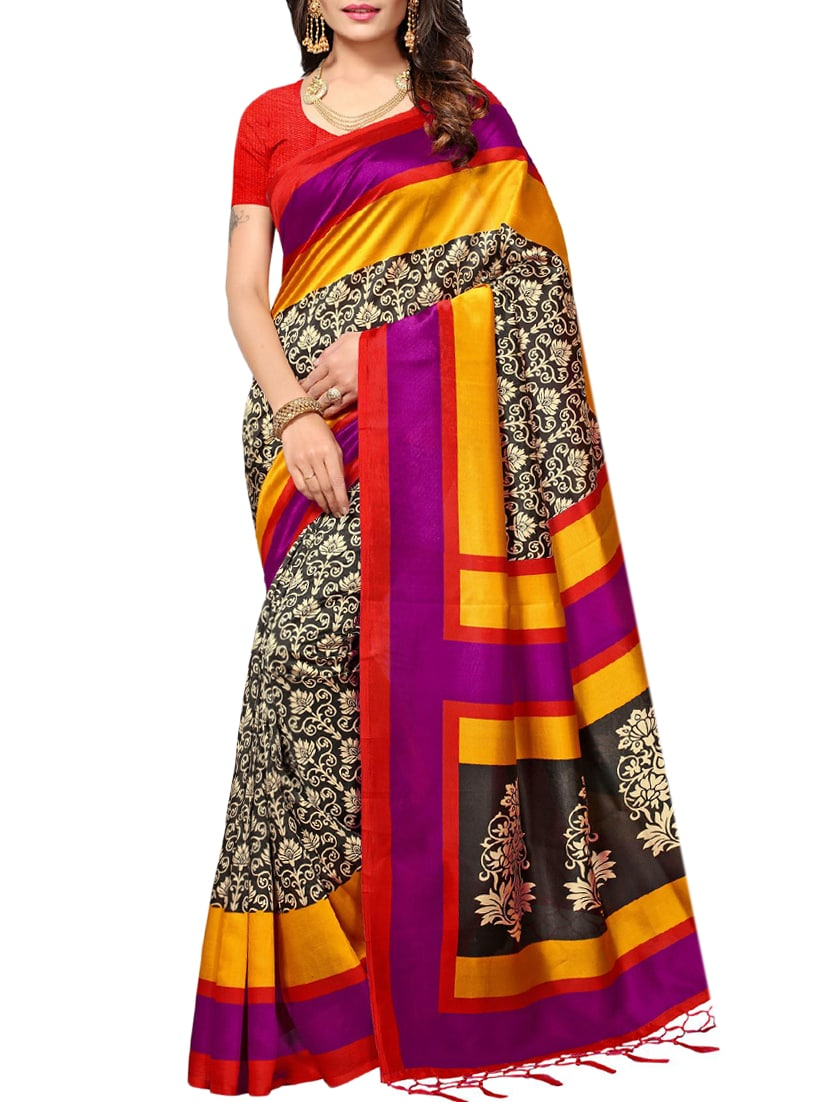 black art silk mysore saree with blouse