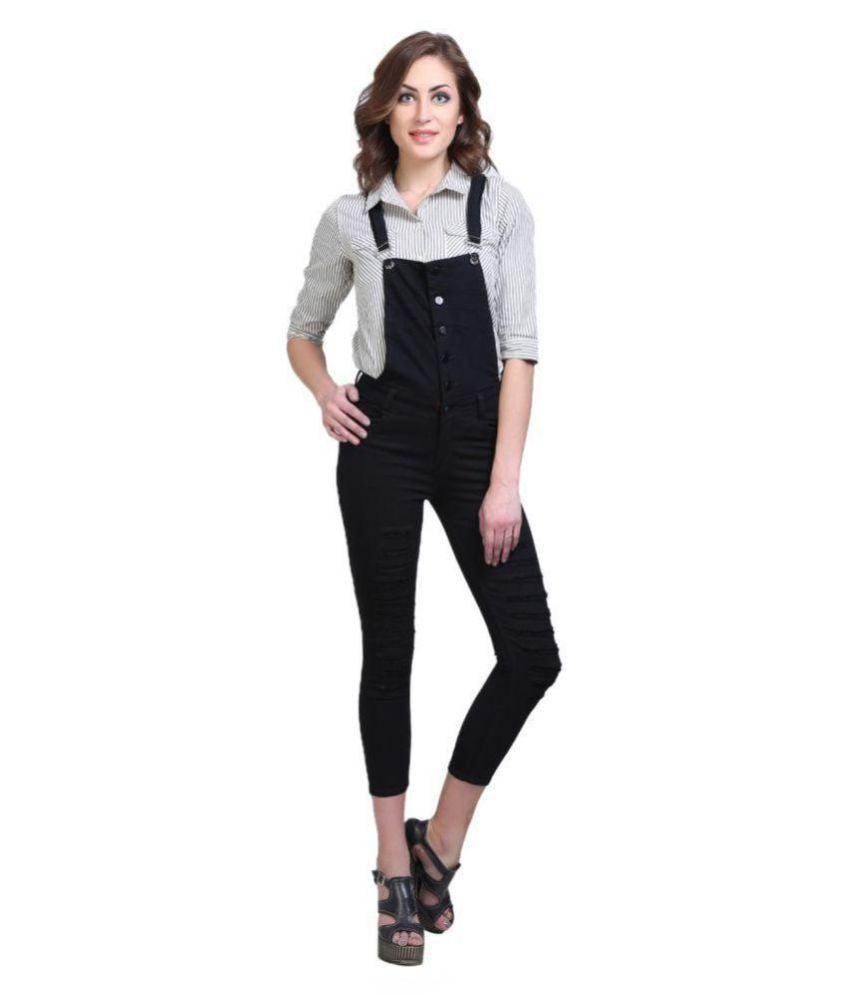 Essence Poly Cotton Dungarees - Black