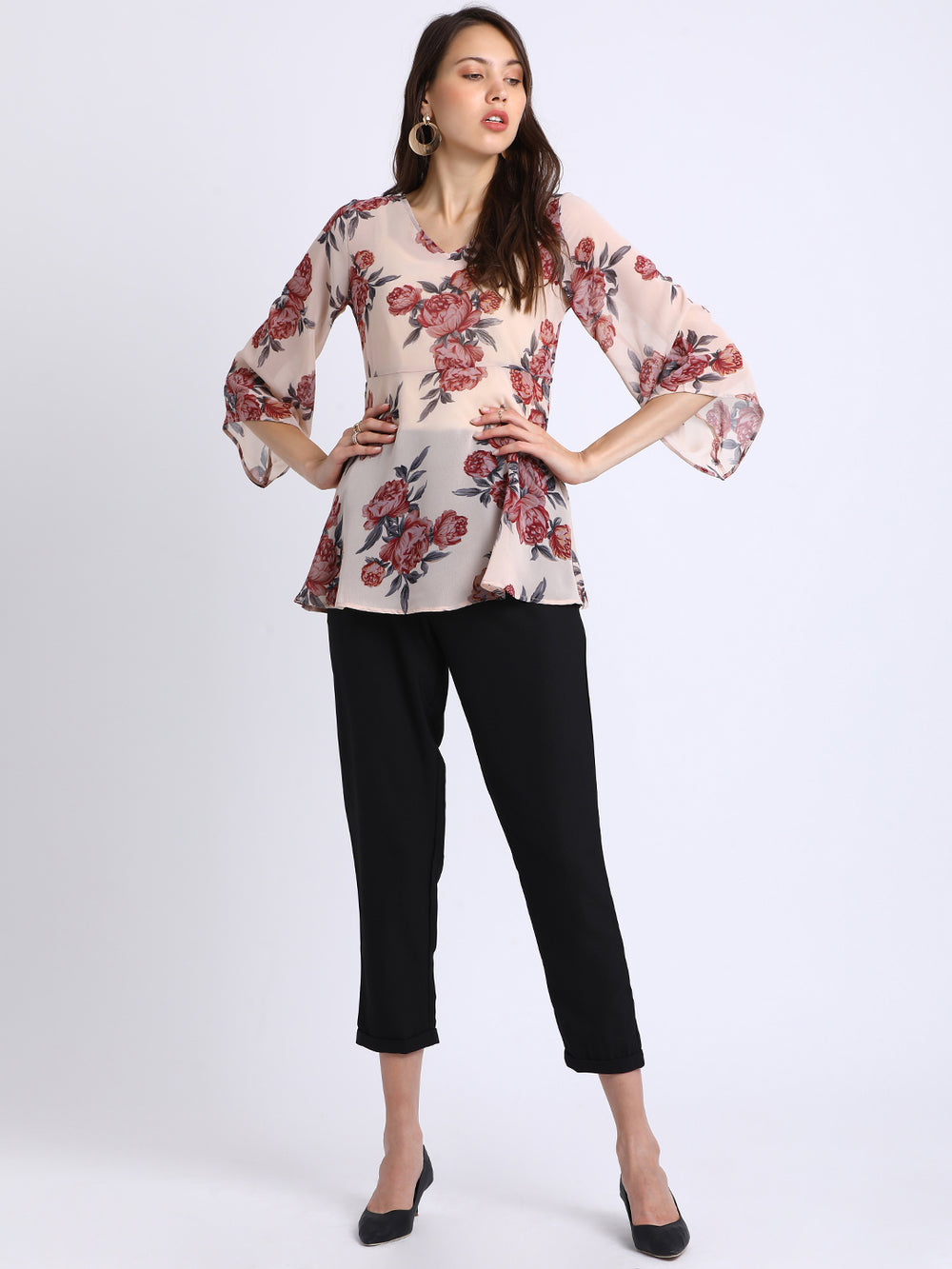 Besiva Women Beige Printed Empire Top