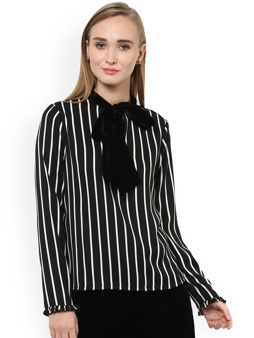 Besiva Women Black Striped Top With Tie-Up Detail