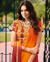Roop Kashish Women Orange Party Wear Georgette Saree With Border And Raw Silk Blouse Material_RKPF2006