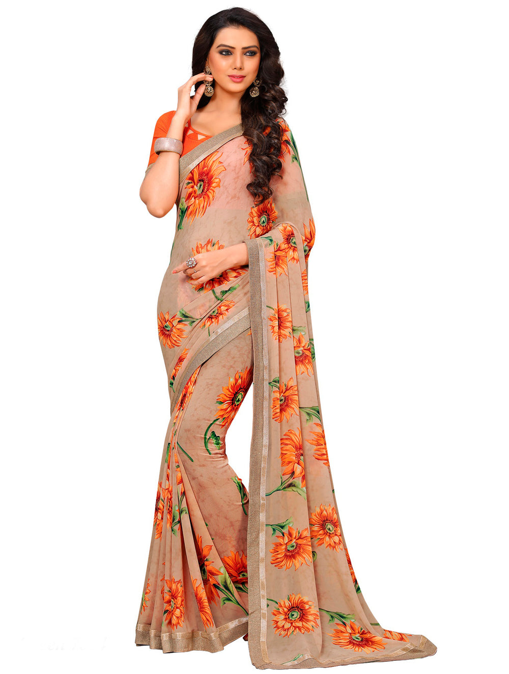 Roop Kashish Women Beige Party Wear Georgette Printed Saree With Border And Georgette Blouse Material._RKAM7024