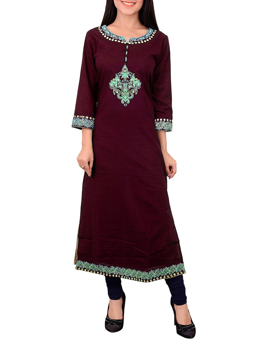 brown cotton embroidered long kurta