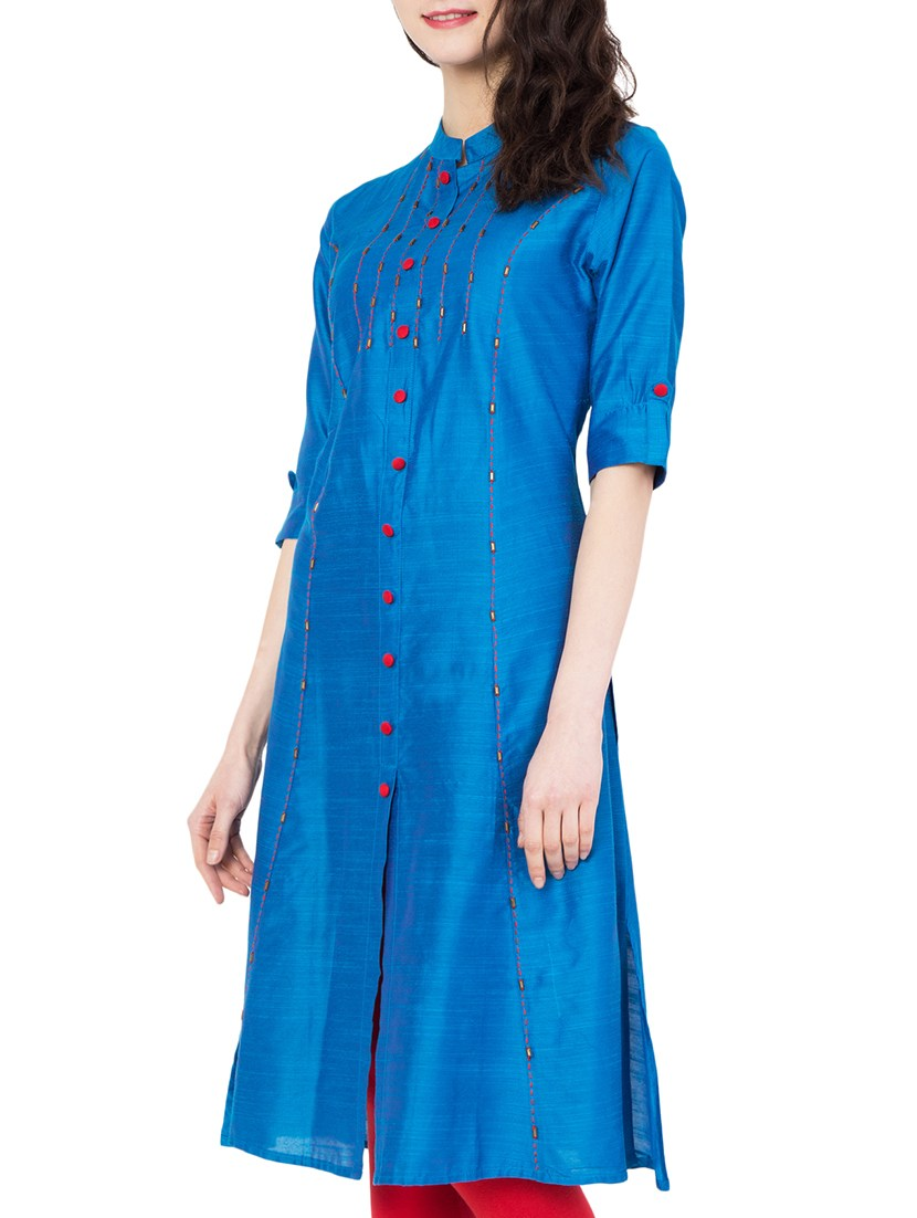 blue silk straight kurta