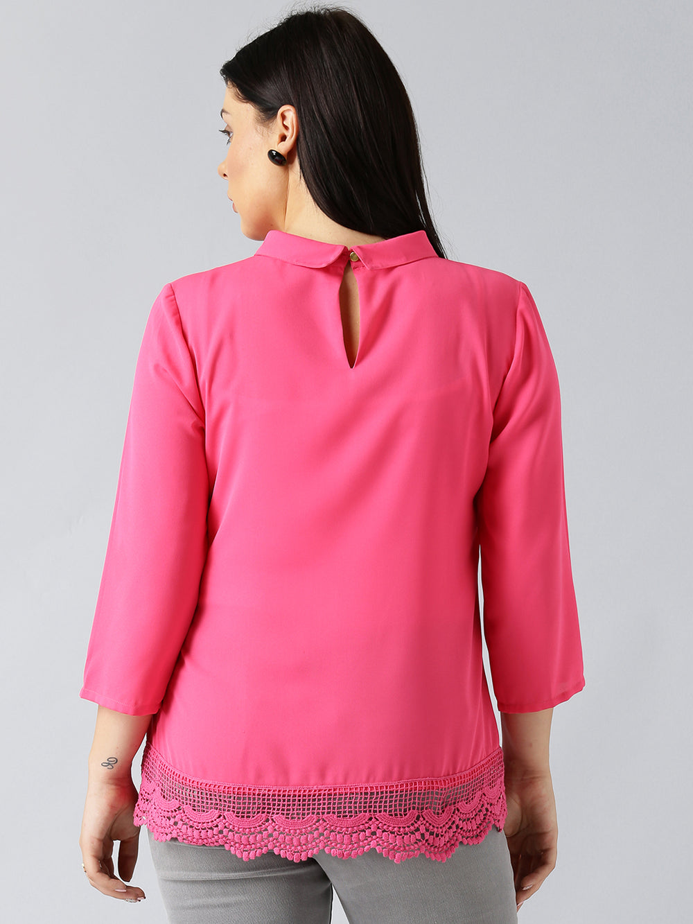 Besiva Women Pink Solid A-Line Top