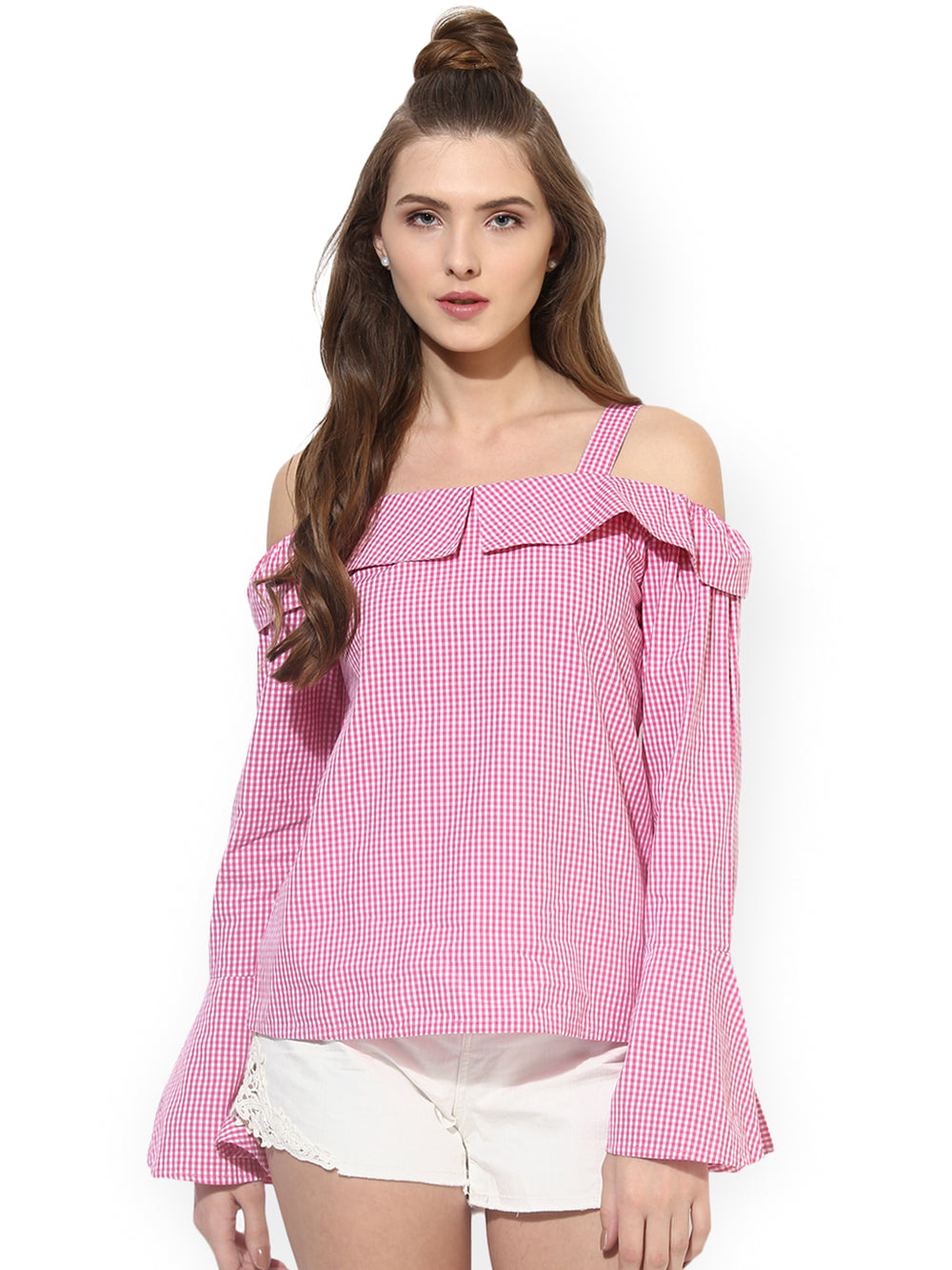 Besiva Women Pink & White Checked Bardot Top