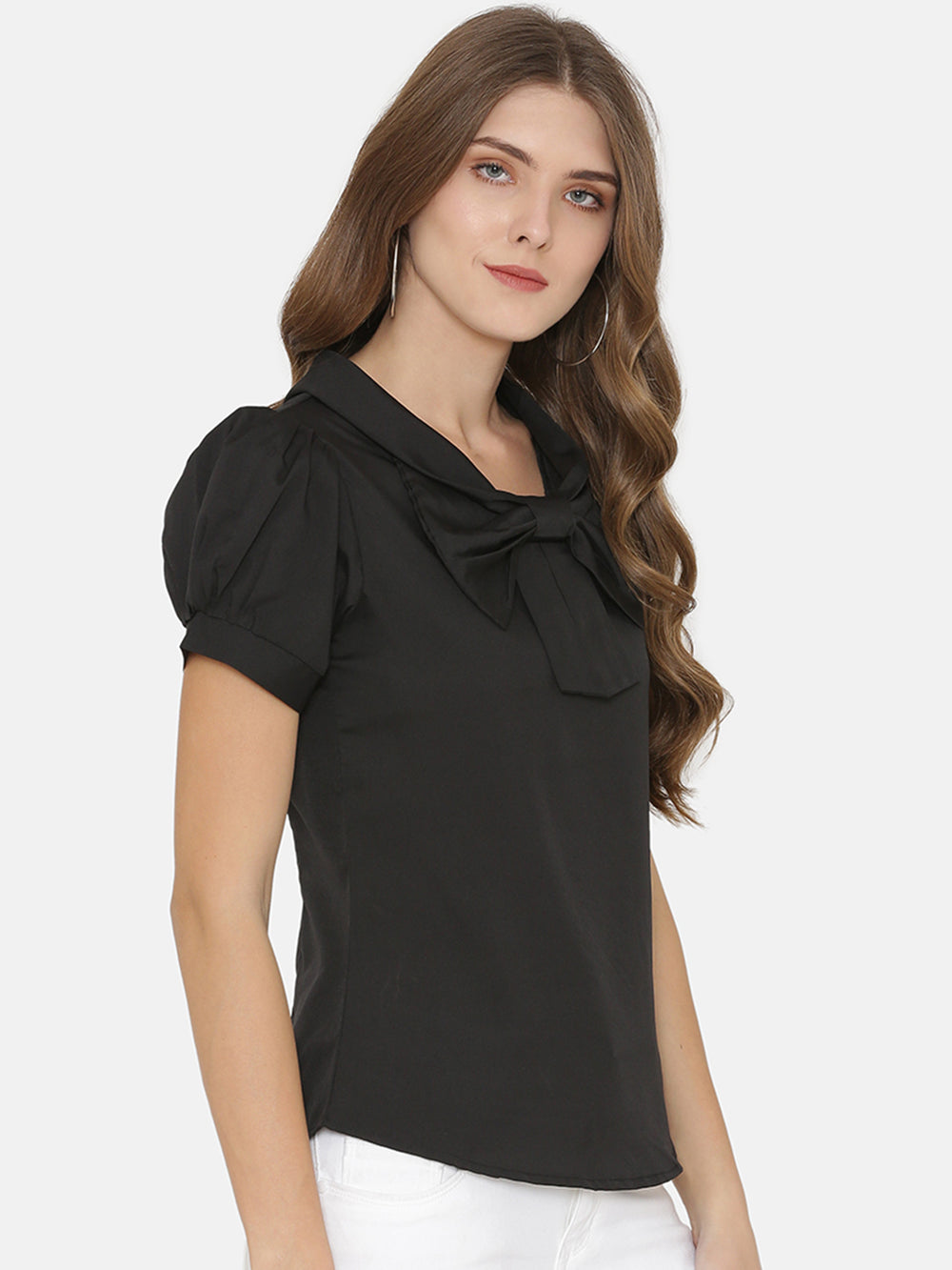 eyelet Women Black Solid Top