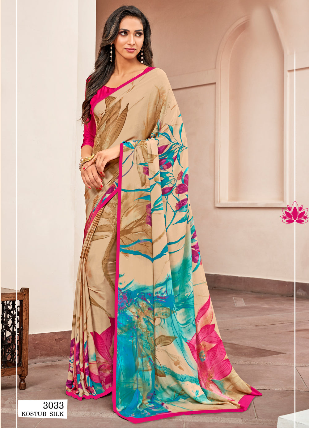 Roop Kashish Women Multi_Coloured  Party Wear Crepe, Satin Printed Saree With Border And Crepe, Satin Blouse Material_RKNKSY3033