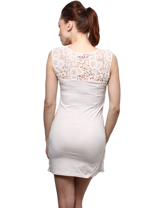 XnY Nude Color Jersey Lace Dress