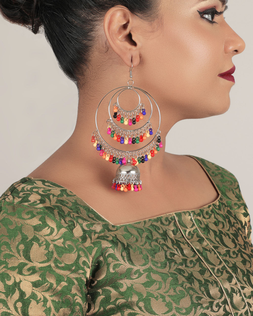 Multicolour-Plated Oxidised Crescent Shaped Hoop Earrings