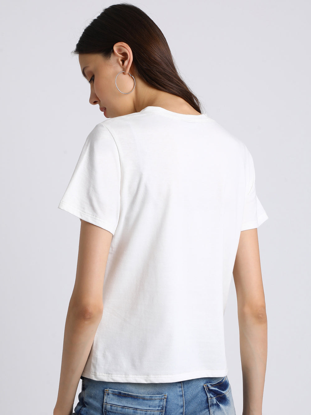 Besiva Women White Printed Round Neck T-shirt