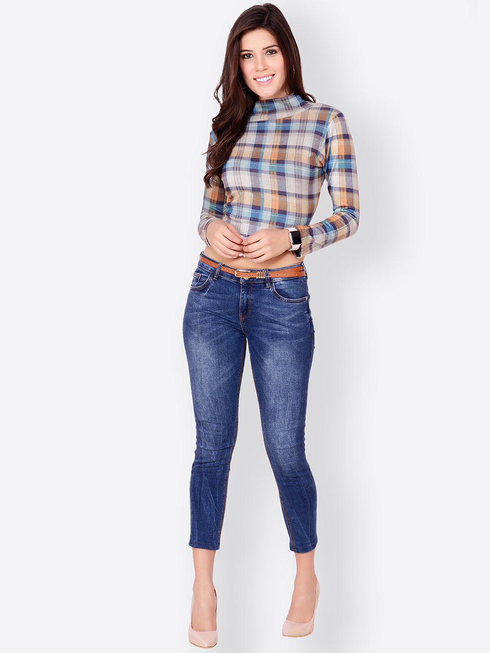 SCORPIUS Women Multicoloured Checked Fitted Crop Top