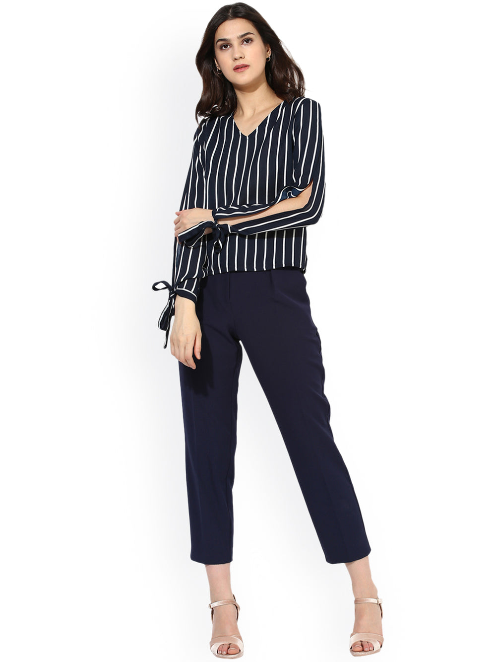 Besiva Women Navy Blue & White Striped Top