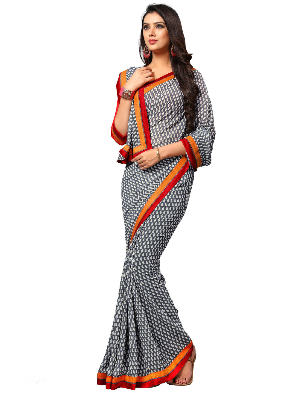 Roop Kashish Women Grey Party Wear Georgette Printed Saree With Border And Georgette Blouse Material_RKAM8010