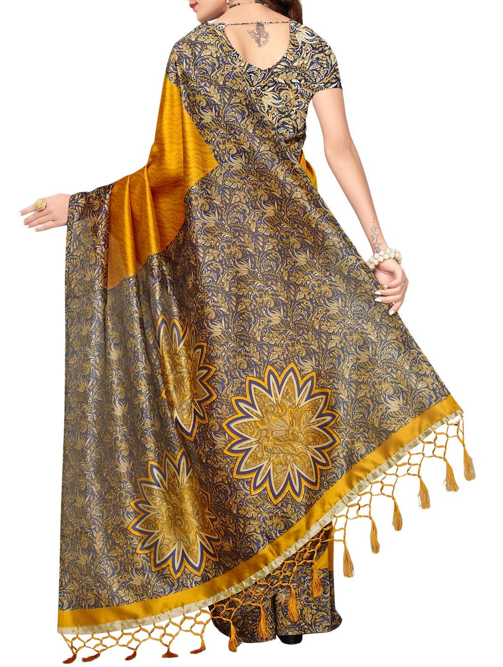 mustard mysore silk saree with blouse
