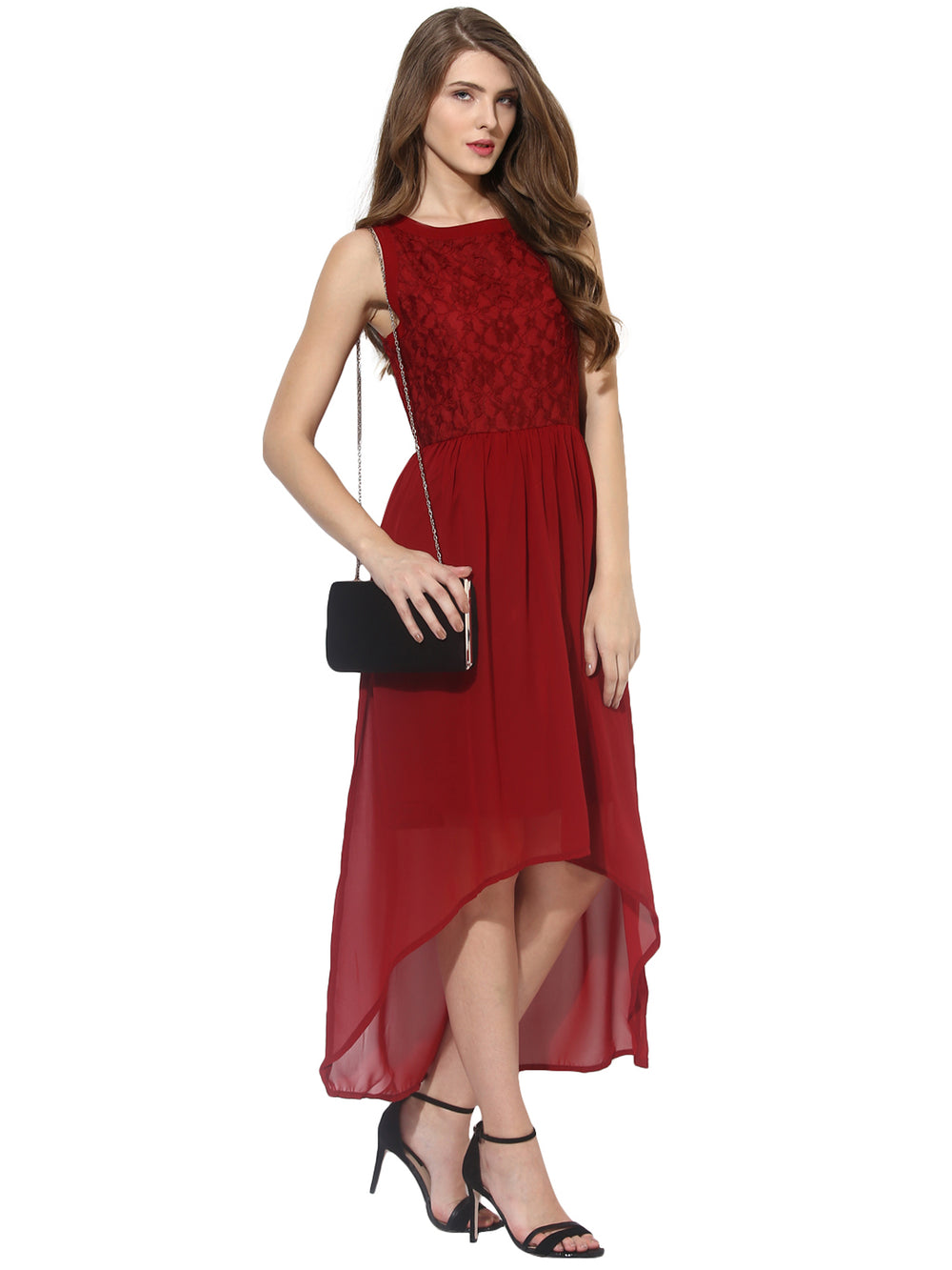 Besiva Women Maroon Solid A-line Lace Dress