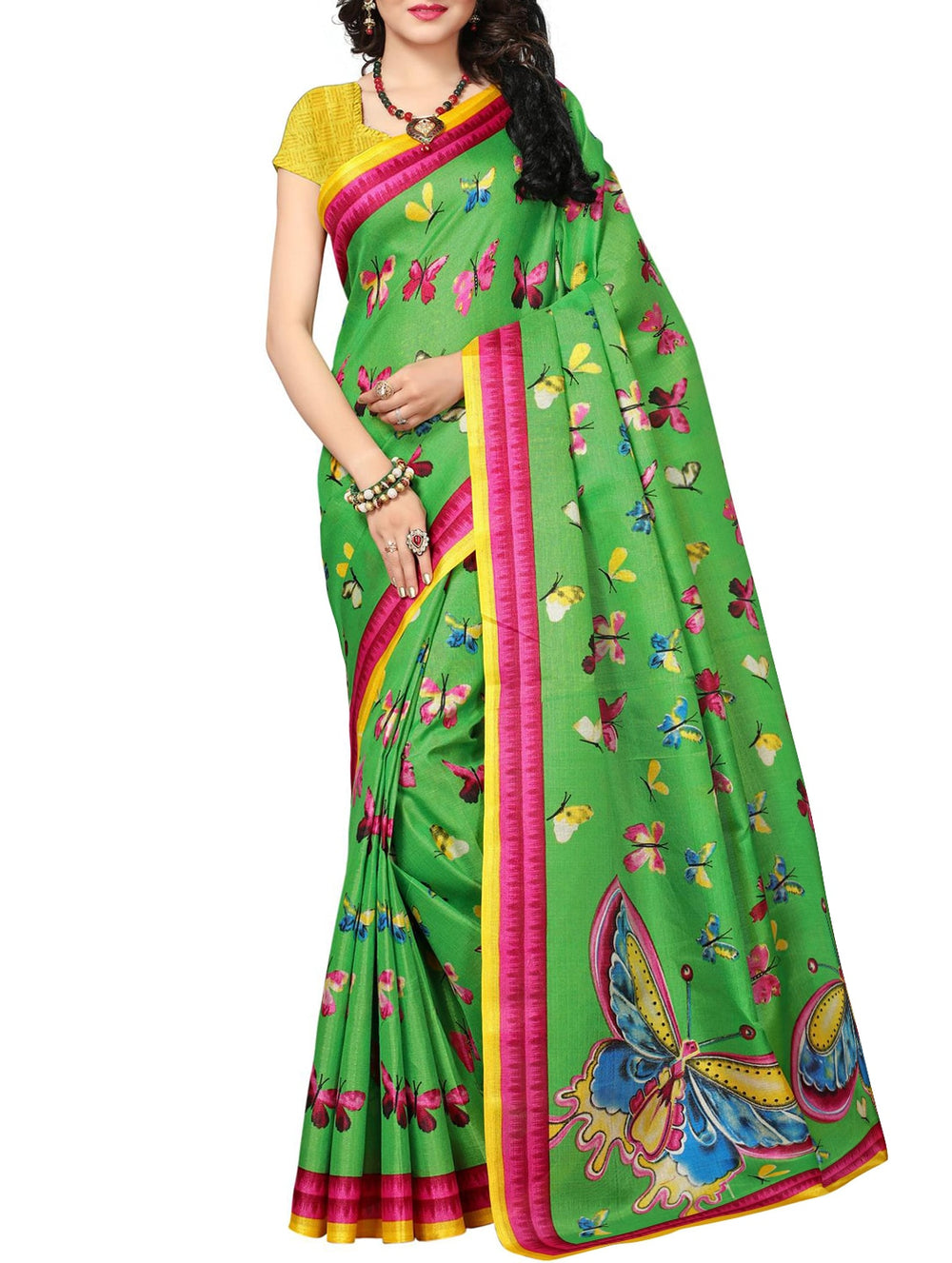 green khadi printed saree with blouse