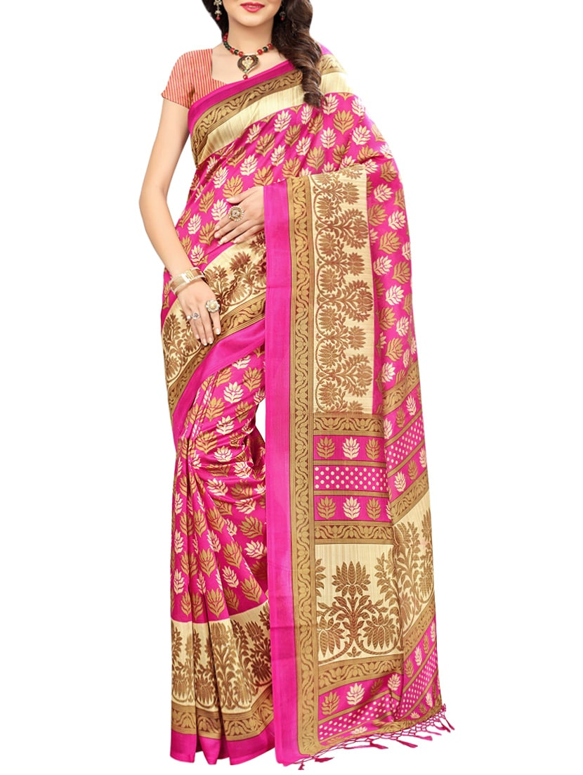 pink art silk mysore saree with blouse