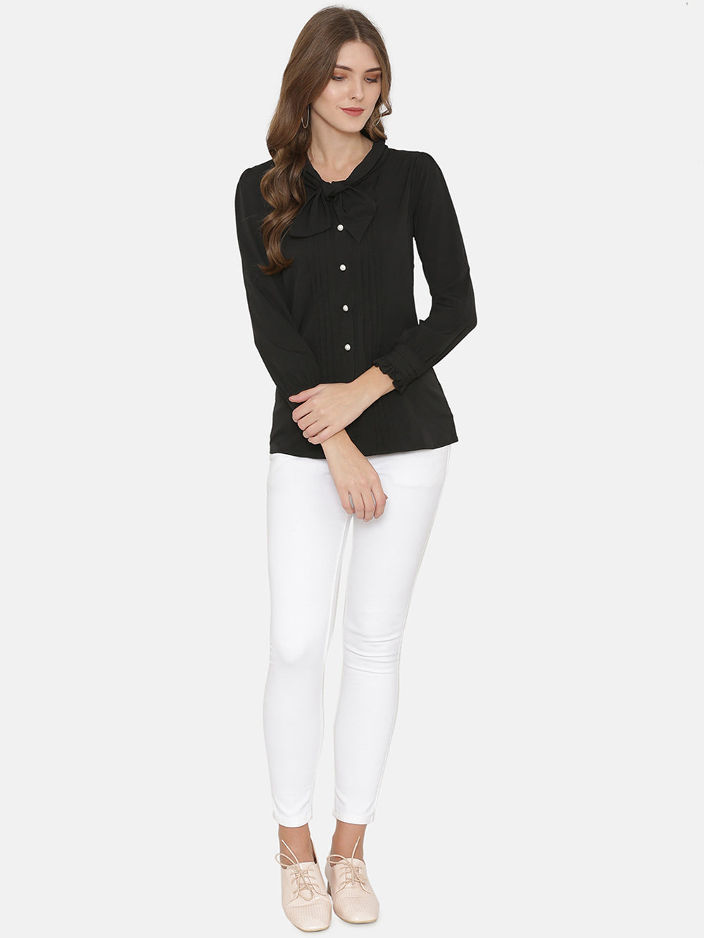 eyelet Women Black Comfort Slim Fit Solid Casual Shirt
