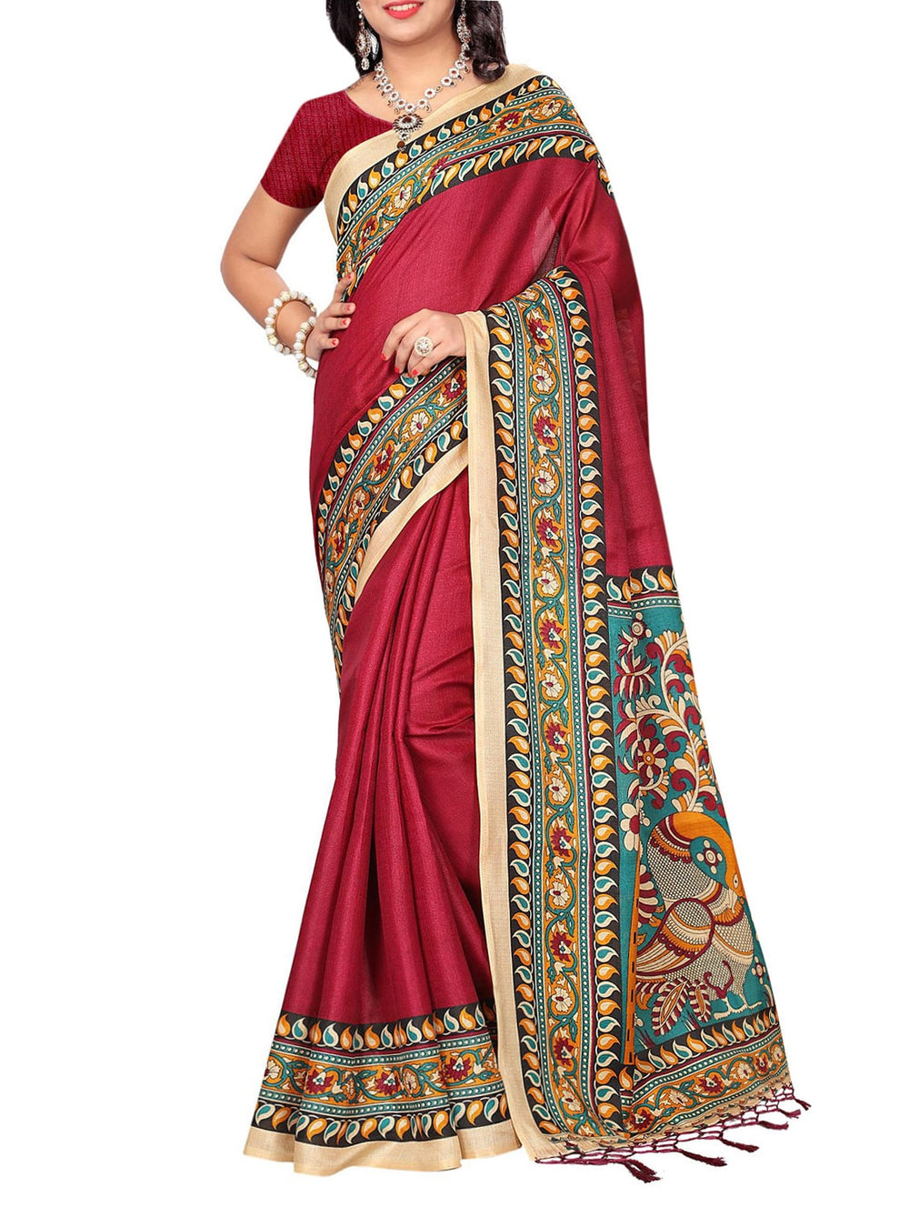 red khadi printed saree with blouse