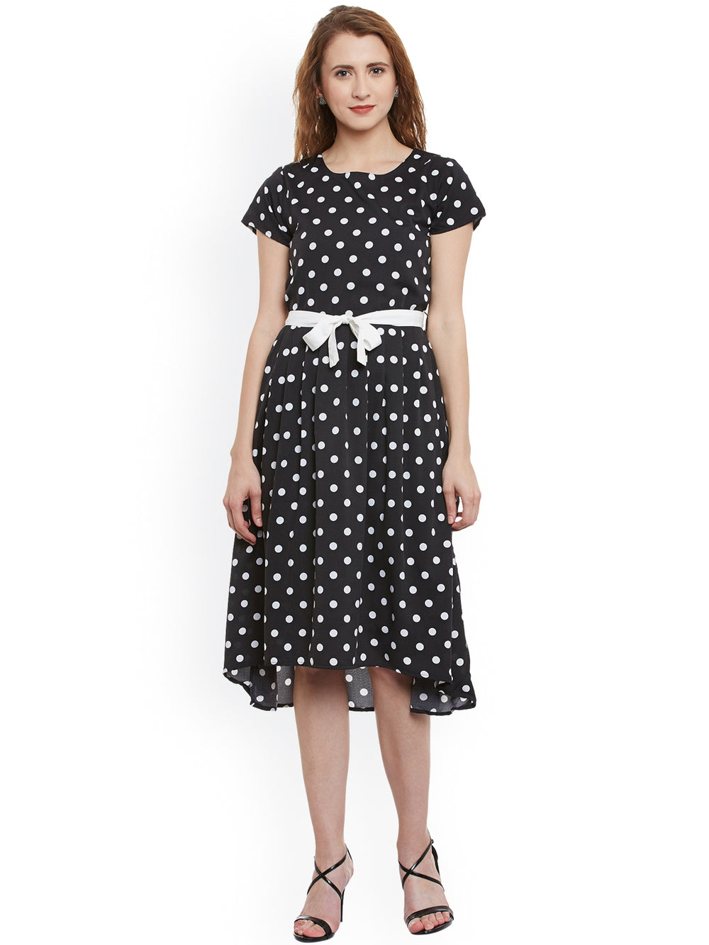 eyelet Women Black & White Polka Dot Print Fit & Flare Dress